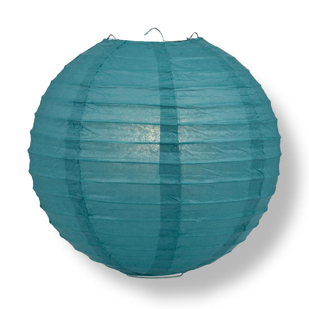"16"" Tahiti Teal Parallel Ribbing Round Paper Lantern - Luna Bazaar - Discover. Decorate. Celebrate"