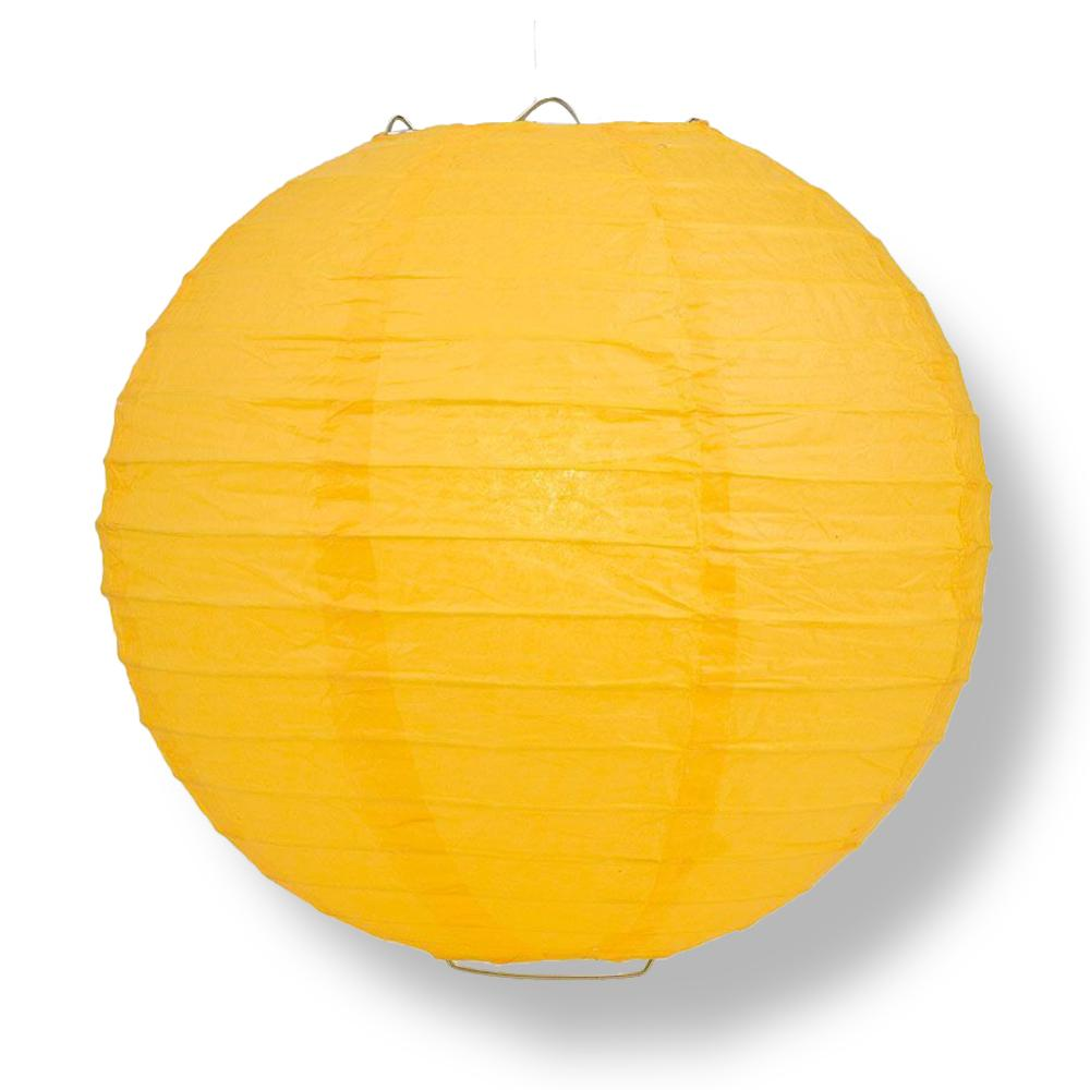 "CLOSEOUT 6-Pack 42"" Yellow-Orange Jumbo Parallel Ribbing Round Paper Lantern - Luna Bazaar 