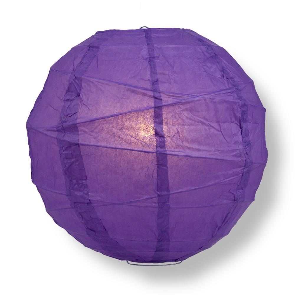 "14"" Royal Purple Free-Style Ribbing Round Paper Lantern - Luna Bazaar - Discover. Decorate. Celebrate"