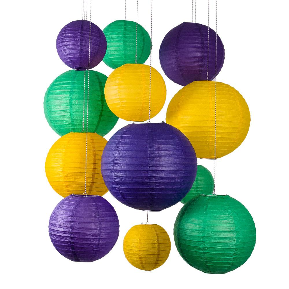 12-pc Mardi Gras Carnaval Colorful Paper Lantern Combo Hanging Decoration Party Pack (No Lighting Included) - Luna Bazaar | Boho & Vintage Style Decor