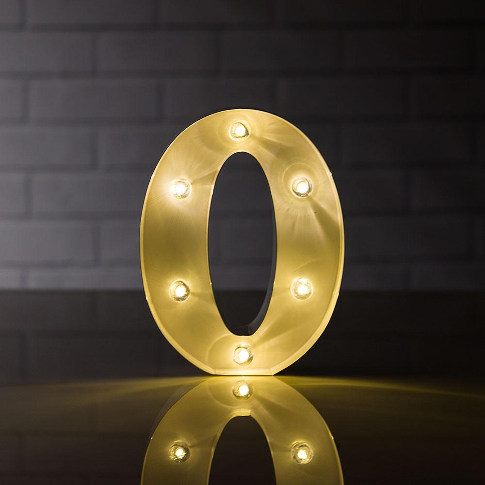 CLOSEOUT Marquee Light Number '0' LED Metal Sign (8 Inch, Battery Operated) - Luna Bazaar - Discover. Decorate. Celebrate