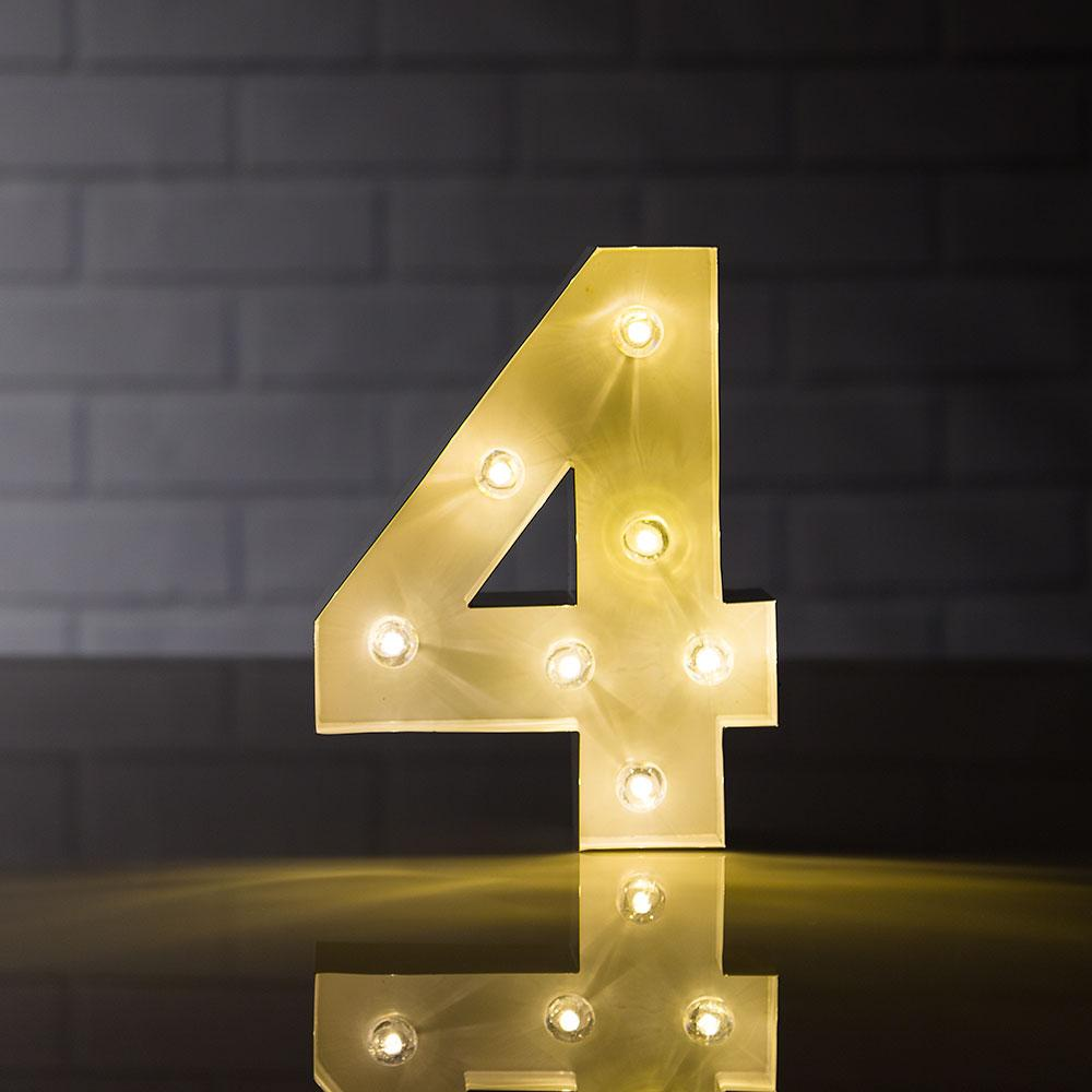 CLOSEOUT Marquee Light Number '4' LED Metal Sign (8 Inch, Battery Operated) - Luna Bazaar | Boho & Vintage Style Decor