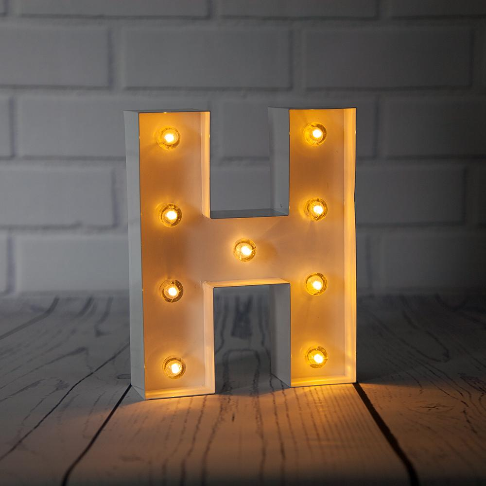 CLOSEOUT White Marquee Light Letter 'H' LED Metal Sign (8 Inch, Battery Operated w/ Timer) - Luna Bazaar | Boho & Vintage Style Decor