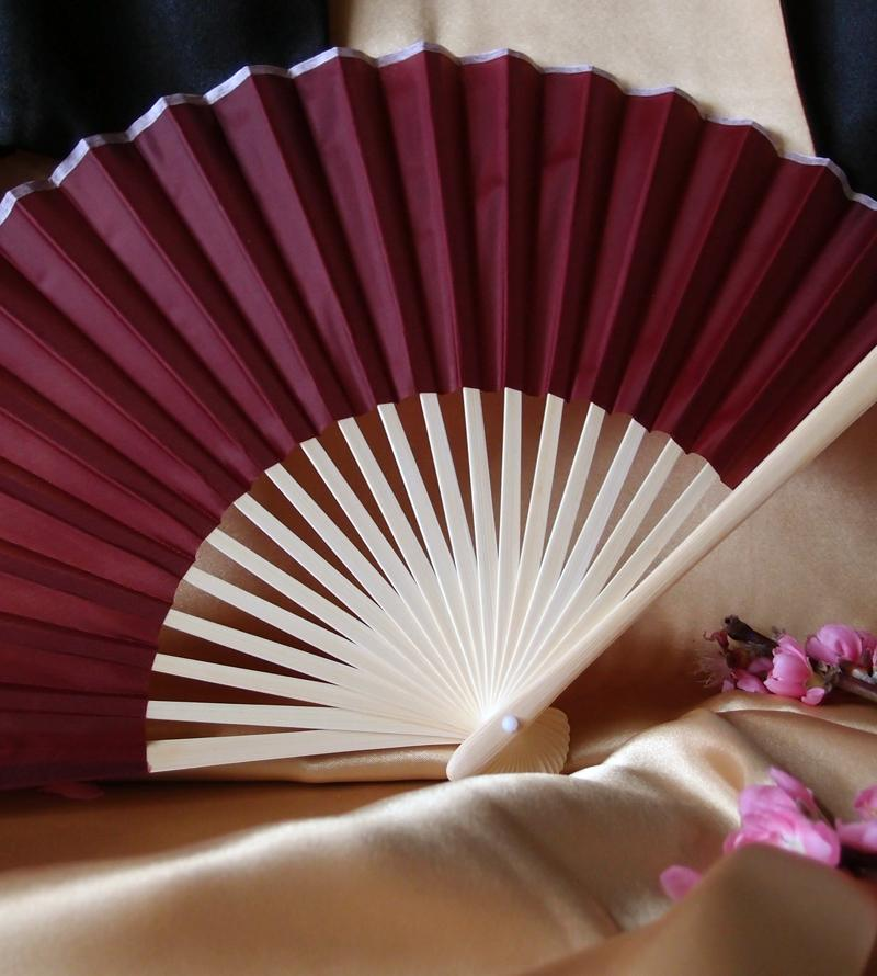 "9"" Marsala / Burgundy Wine Silk Hand Fans for Weddings (10 Pack) - Luna Bazaar 