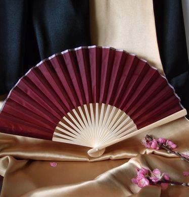 "50-Pack 9"" Marsala / Burgundy Wine Silk Hand Fans for Weddings - Luna Bazaar 
