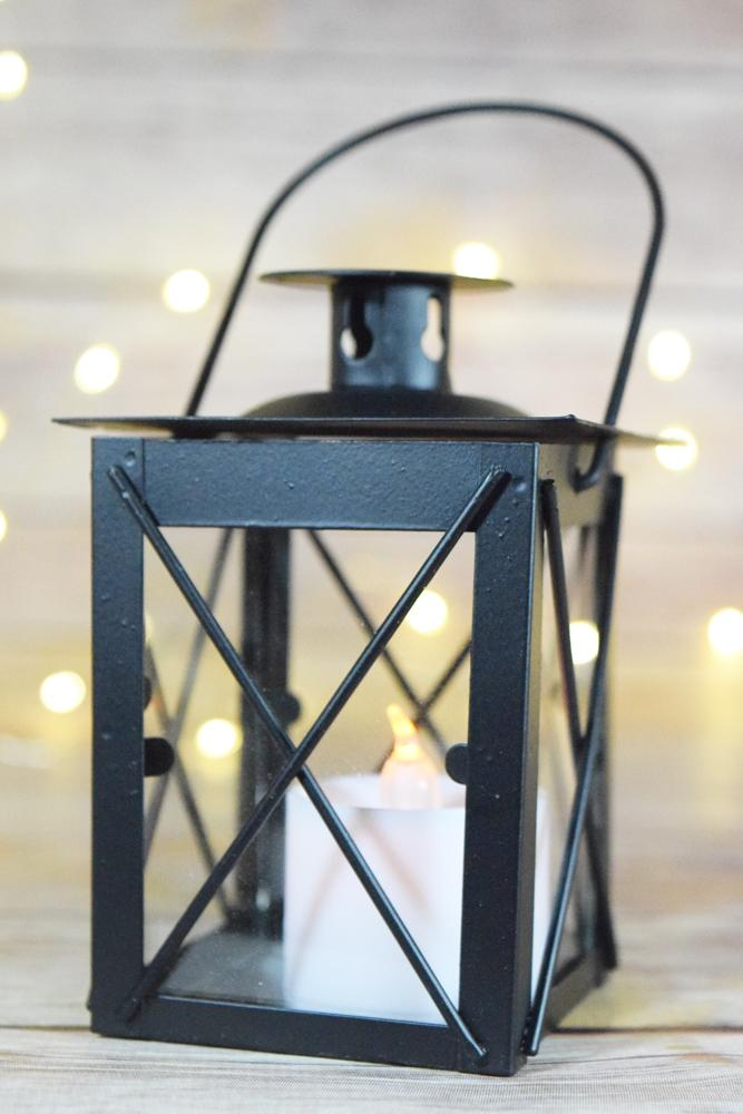 "4.5"" Black Decorative Square Hurricane Candle Lantern Tea Light Holder - Luna Bazaar 