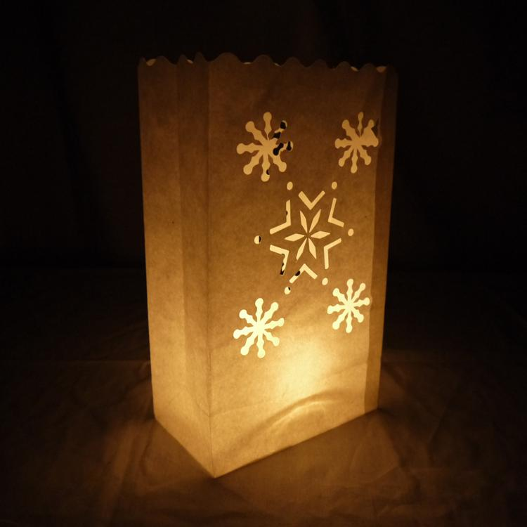Multiple Snowflake Paper Luminaries / Luminary Lantern Bags Path Lighting (10 PACK) - Luna Bazaar | Boho & Vintage Style Decor