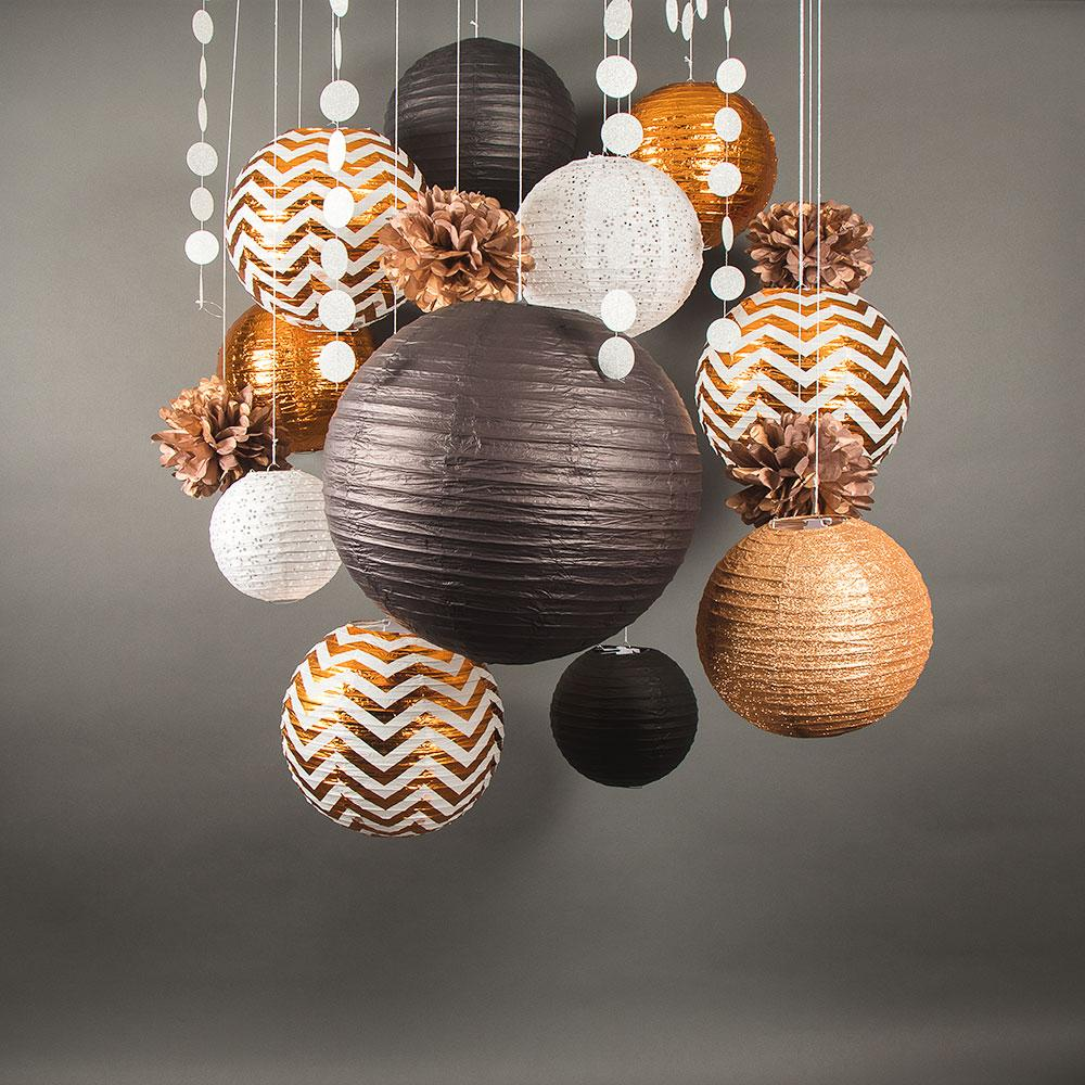 CLOSEOUT 14-pc Copper / Black New Year's Eve Celebration Party Pack Paper Lantern Combo Set - Luna Bazaar | Boho & Vintage Style Decor