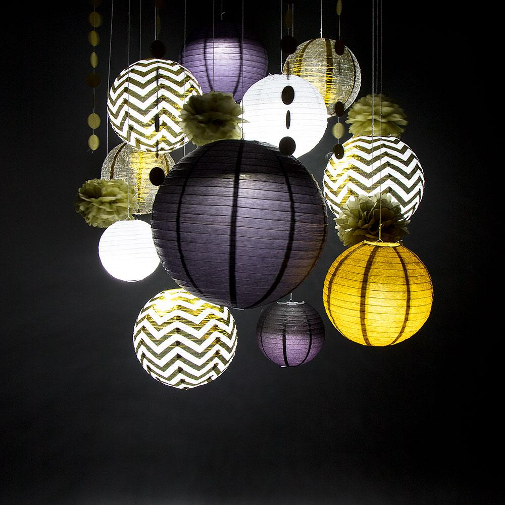 CLOSEOUT 14-pc Gold / Black New Year's Eve Celebration Party Pack Paper Lantern Combo Set - Luna Bazaar | Boho & Vintage Style Decor