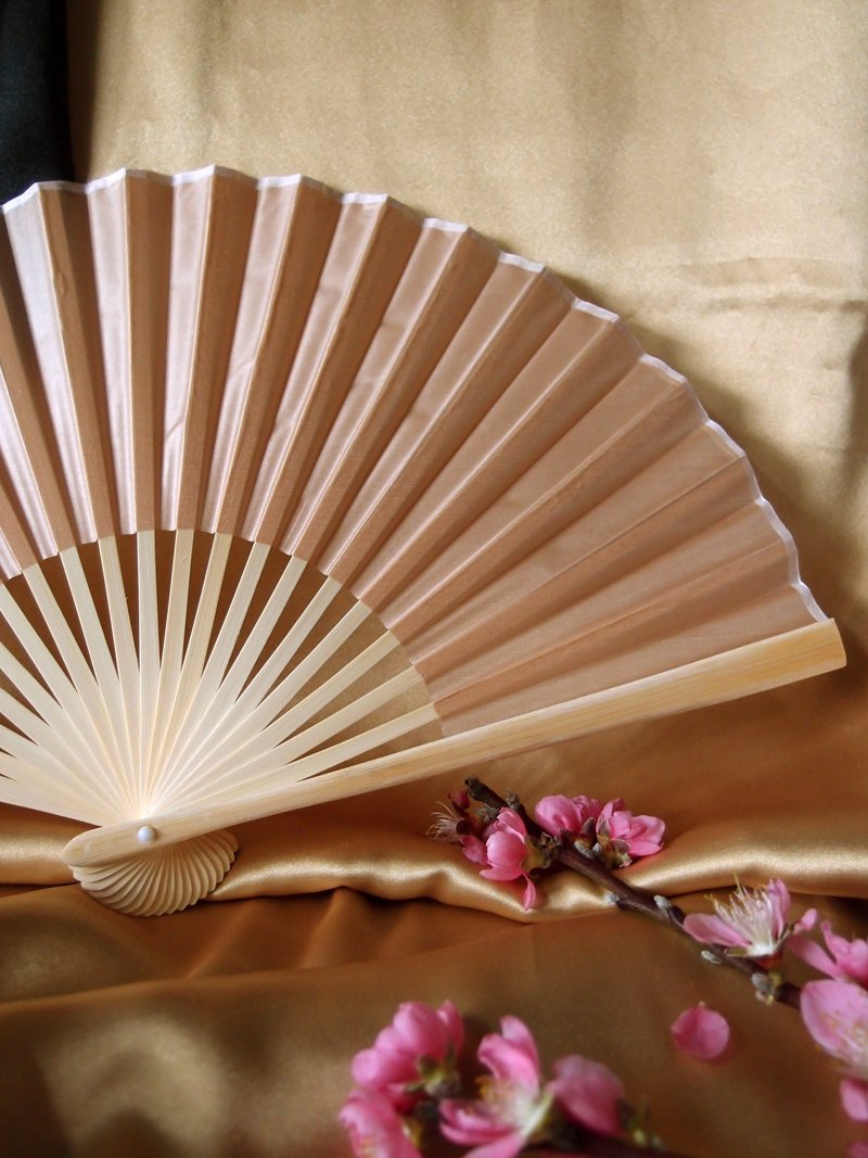 "9"" Nude Silk Hand Fans for Weddings (10 Pack) - Luna Bazaar 