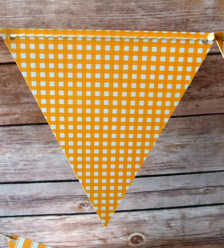 CLOSEOUT Orange Mix Pattern Triangle Flag Pennant Banner (11FT) - Luna Bazaar | Boho & Vintage Style Decor