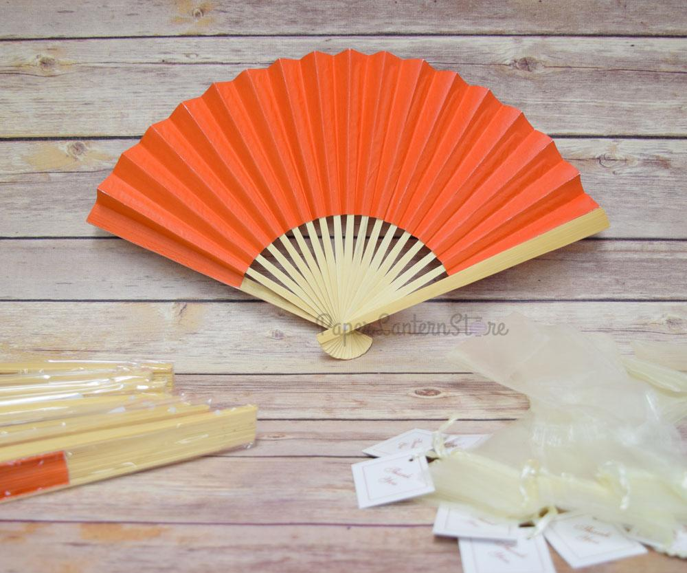 "9"" Orange Paper Hand Fans w/ Beige Organza Bag (Combo 10 Pack) - Luna Bazaar - Discover. Decorate. Celebrate"