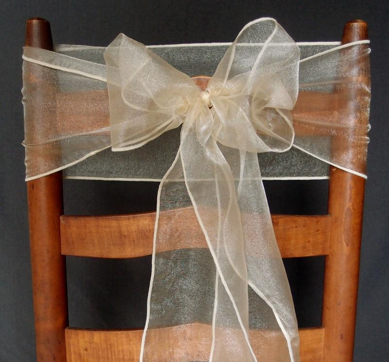 CLOSEOUT Champagne Organza Chair Sashes (9FT, 10 PACK) - Luna Bazaar | Boho & Vintage Style Decor