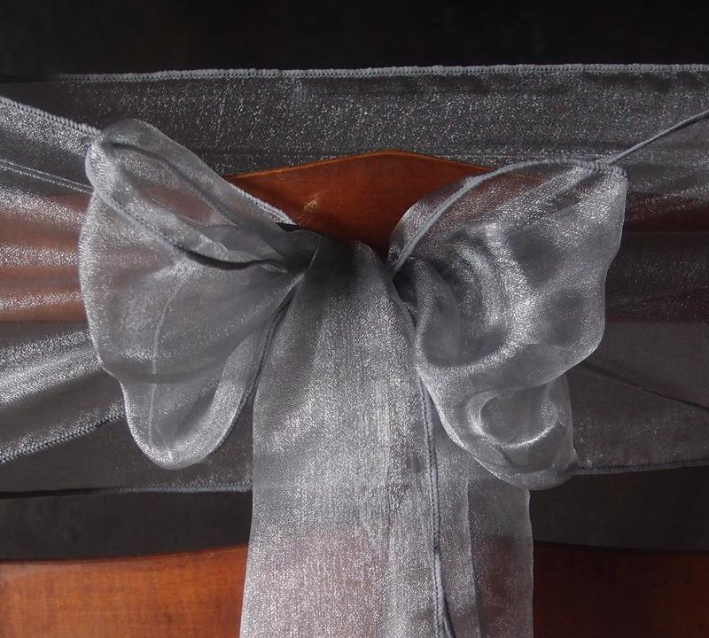 CLOSEOUT Silver Organza Chair Sashes (9FT, 10 PACK) - Luna Bazaar - Discover. Decorate. Celebrate