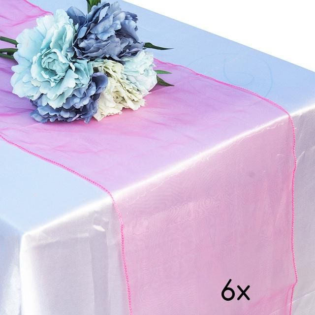 "CLOSEOUT 6 Pack Pink Organza Table Runner - 12""x108"" - Luna Bazaar 