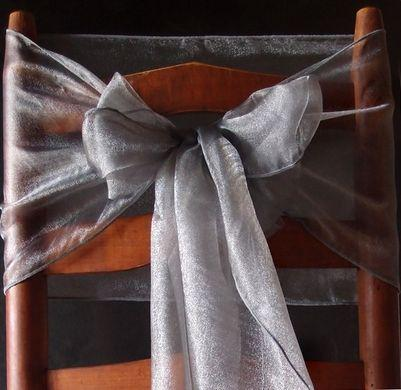 "CLOSEOUT 6 Pack Dark Silver Organza Table Runner - 12""x108"" - Luna Bazaar 