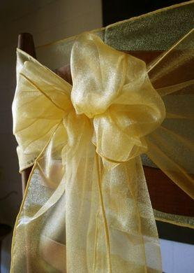 "CLOSEOUT 6 Pack Yellow Organza Table Runner - 12""x108"" - Luna Bazaar 