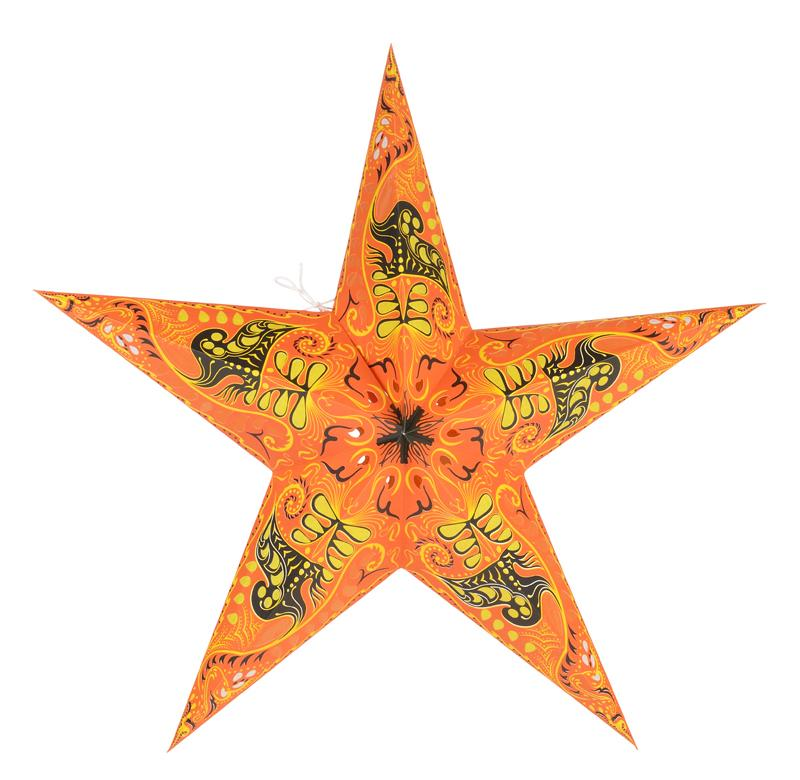 "24"" Orange Swan Paper Star Lantern, Chinese Hanging Wedding & Party Decoration - Luna Bazaar 