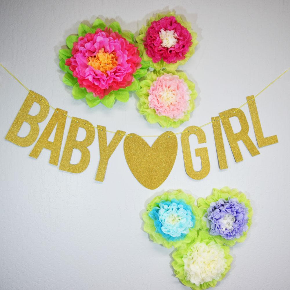 CLOSEOUT Baby ♥ Girl Baby Shower Glitter Paper Garland Banner (4-9 FT) - Luna Bazaar | Boho & Vintage Style Decor