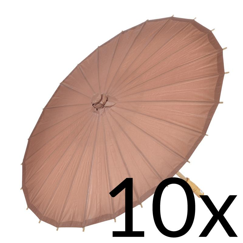 "10-Pack 32"" Brown Paper Parasol Umbrellas - Luna Bazaar - Discover. Decorate. Celebrate"