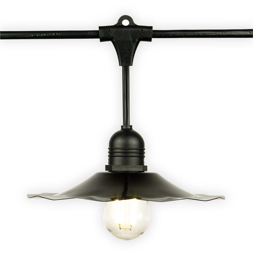 Patio Metal Light Bulb Shade for Outdoor Commercial String Lights, E26, Black - Luna Bazaar - Discover. Decorate. Celebrate