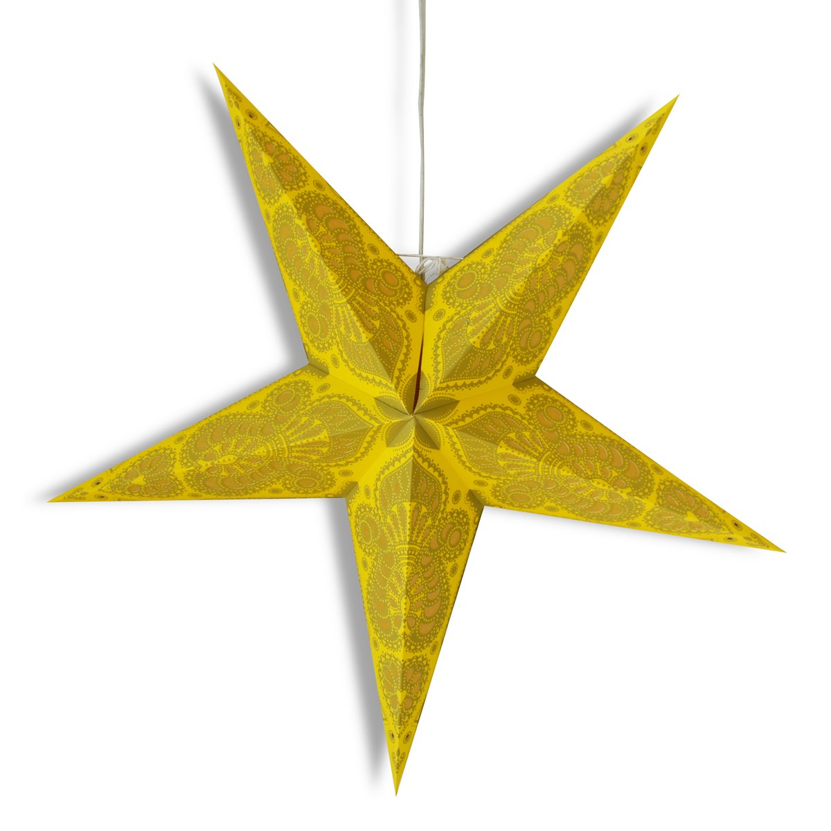 "24"" Cream Yellow Peacock Paper Star Lantern, Hanging Wedding & Party Decoration - Luna Bazaar 