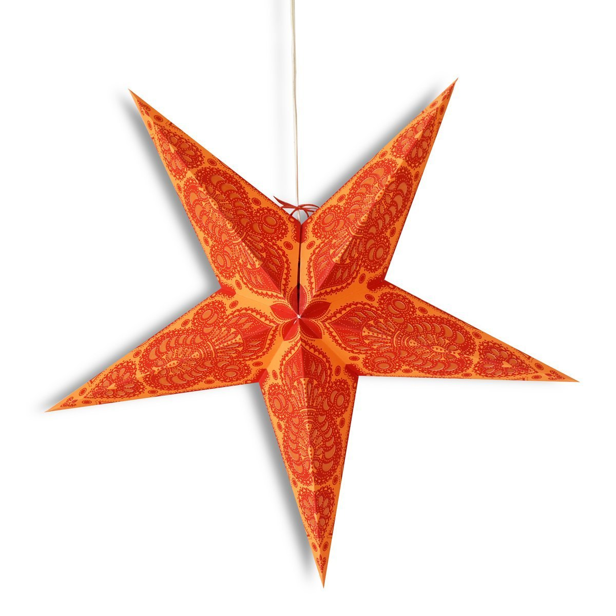 "3-PACK + Cord  24"" Orange Peacock Paper Star Lantern and Lamp Cord Hanging Decoration - Luna Bazaar 