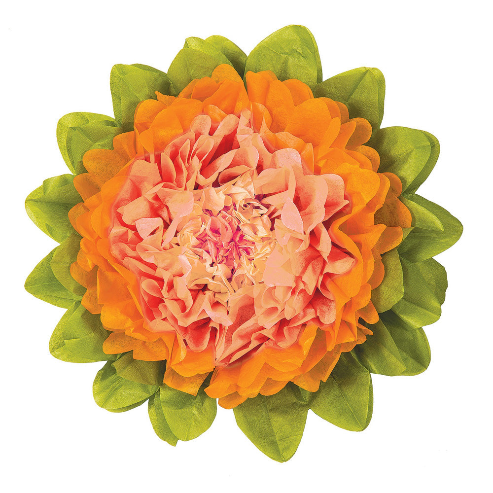 CLOSEOUT Medium Cantaloupe Orange 10 Inch Tissue Paper Flower - Luna Bazaar | Boho & Vintage Style Decor