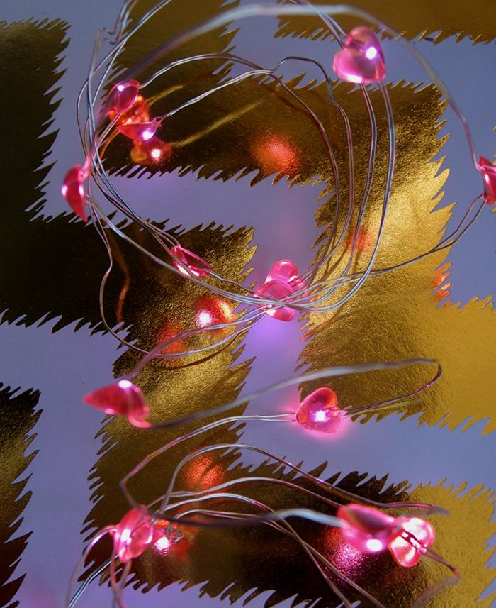 20 Pink Heart LED Micro Strand Fairy String Lights, Wire (4ft, Battery Operated) - Luna Bazaar - Discover. Decorate. Celebrate