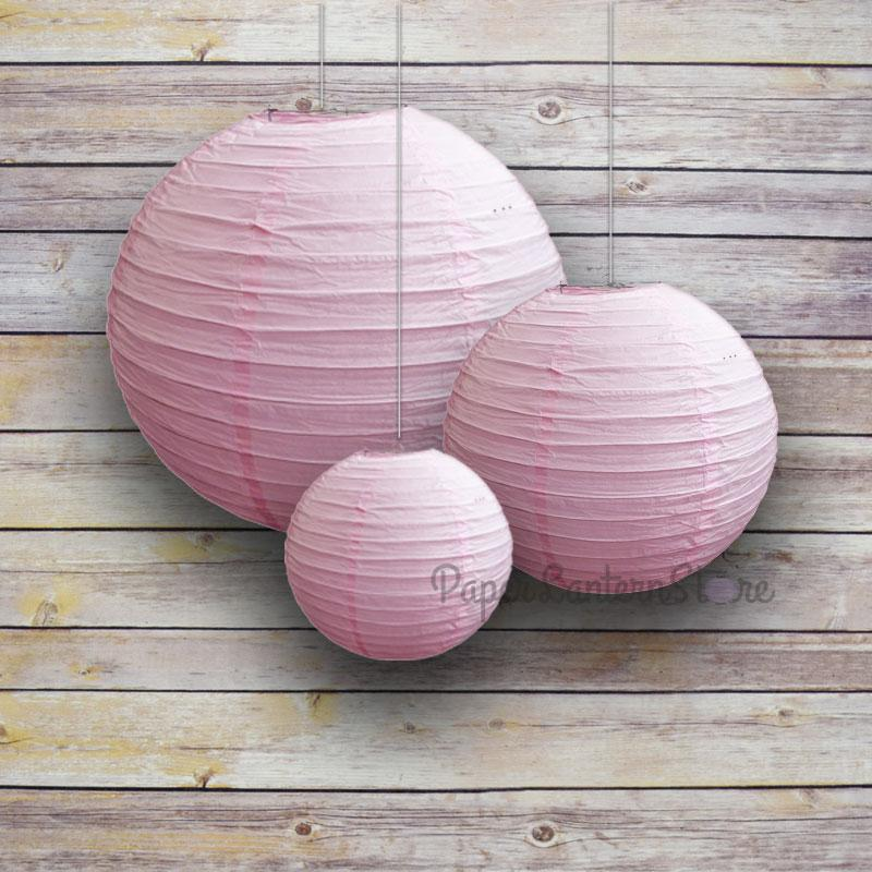 "8/12/16"" Pink Parallel Ribbing Round Paper Lanterns (3-Pack Cluster) - Luna Bazaar - Discover. Decorate. Celebrate"