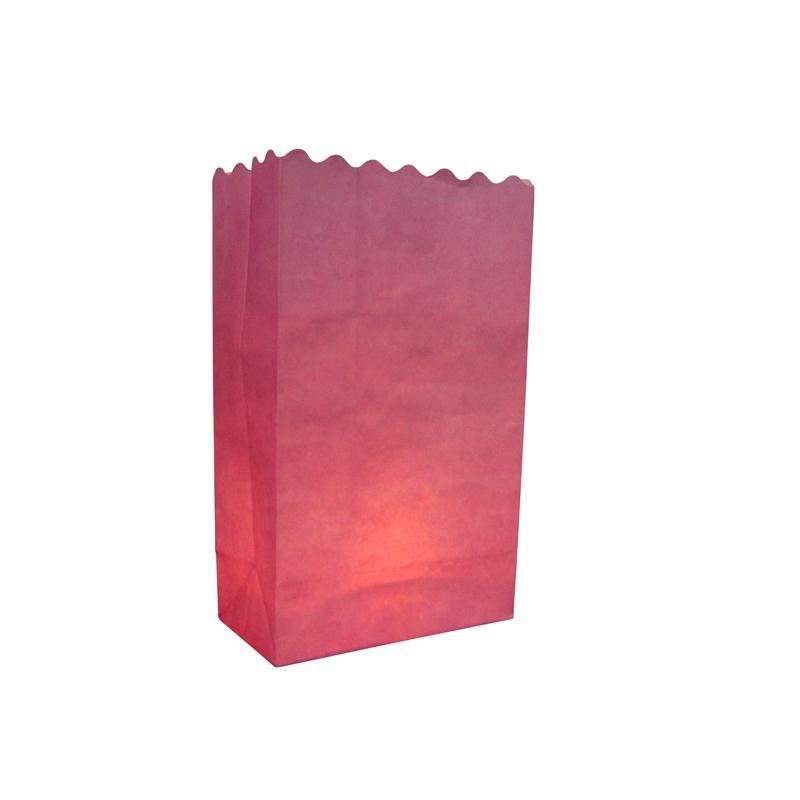 CLOSEOUT Pink Solid Color Paper Luminaries / Luminary Lantern Bags Path Lighting (10 PACK) - Luna Bazaar | Boho & Vintage Style Decor