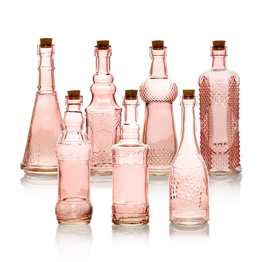 7pc Pink Vintage Glass Wedding Bottle Set, Assorted Wedding Table and Centerpiece Display - Luna Bazaar - Discover. Decorate. Celebrate