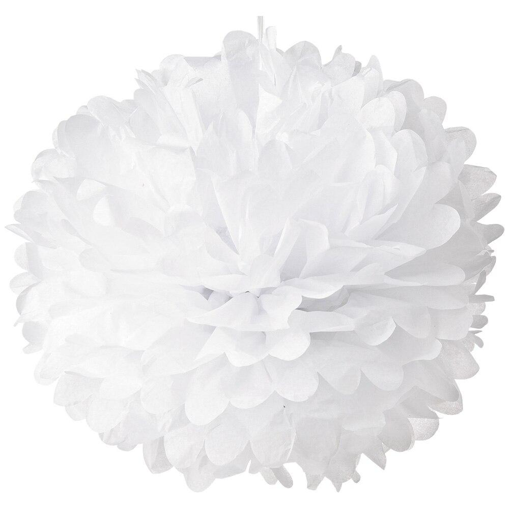 CLOSEOUT Tissue Paper Pom Pom (10-Inch, White, Single) - Hanging Paper Flower Ball Decor for Weddings, Bridal and Baby Showers, Nurseries, Parties - Luna Bazaar | Boho & Vintage Style Decor