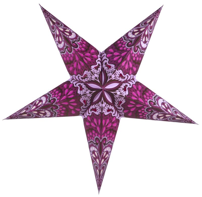 "24"" Magenta Pink Rain Paper Star Lantern, Chinese Hanging Wedding & Party Decoration - Luna Bazaar 