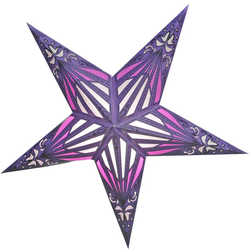"24"" Purple Sunshine Window Paper Star Lantern, Chinese Hanging Wedding & Party Decoration - Luna Bazaar 