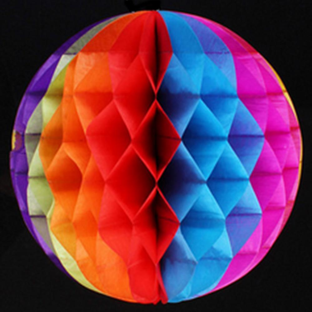 "CLOSEOUT 12"" Rainbow Kaleidoscope Multi-Color Round Tissue Lantern, Honeycomb Ball, Hanging - Luna Bazaar 