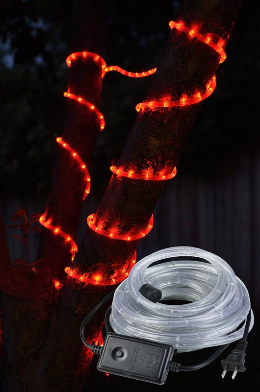 CLOSEOUT Red Outdoor LED Fairy String Rope Light, 33 FT, Clear Tube, AC Plug-In - Luna Bazaar | Boho & Vintage Style Decor