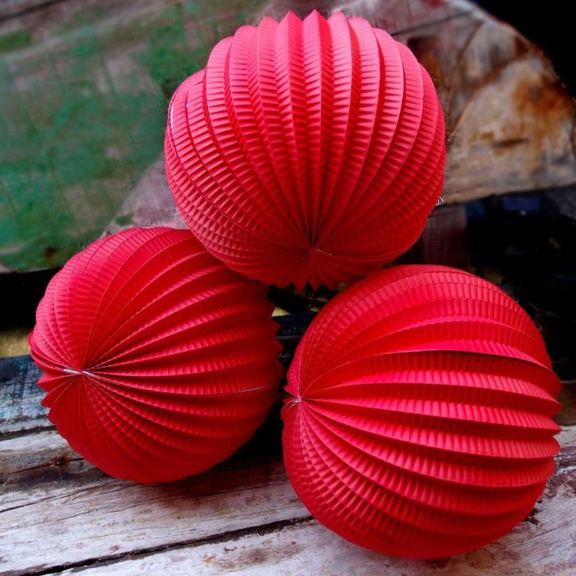 "CLOSEOUT 8"" Red Accordion Paper Lantern Balls - (3 PACK) - Luna Bazaar 