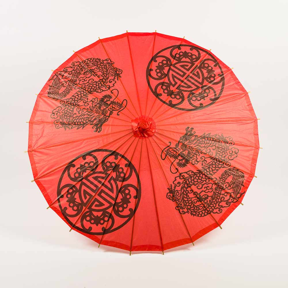 "32"" Red Double Happiness Paper Parasol Umbrella (Sun Protection) - Luna Bazaar - Discover. Decorate. Celebrate"