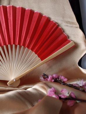 "50-Pack 9"" Red Silk Hand Fans for Weddings - Luna Bazaar - Discover. Decorate. Celebrate"