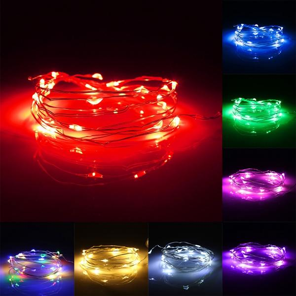 7.5 FT 20 LED Battery Operated Red Fairy String Lights With Silver Wire - Luna Bazaar - Discover. Decorate. Celebrate