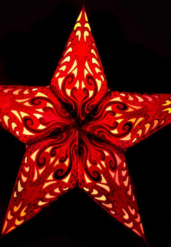 "CLOSEOUT 24"" Red Splash Paper Star Lantern, Chinese Hanging Wedding & Party Decoration - Luna Bazaar - Discover. Decorate. Celebrate"