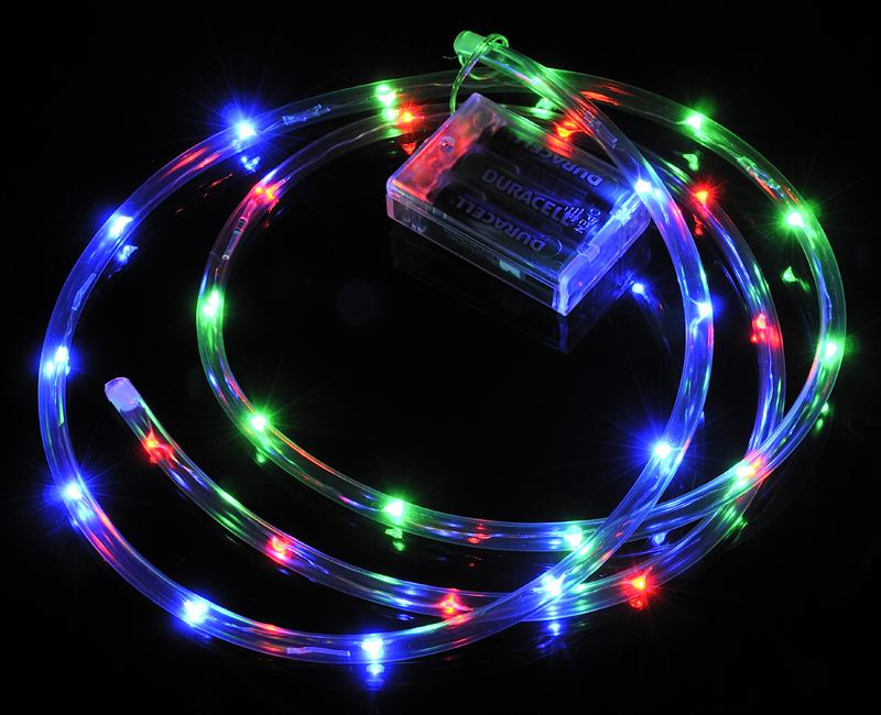 CLOSEOUT 30 LED RGB Waterproof String Rope Light, 6 FT Clear Submersible Tube, Battery Operated Powered - Luna Bazaar | Boho & Vintage Style Decor