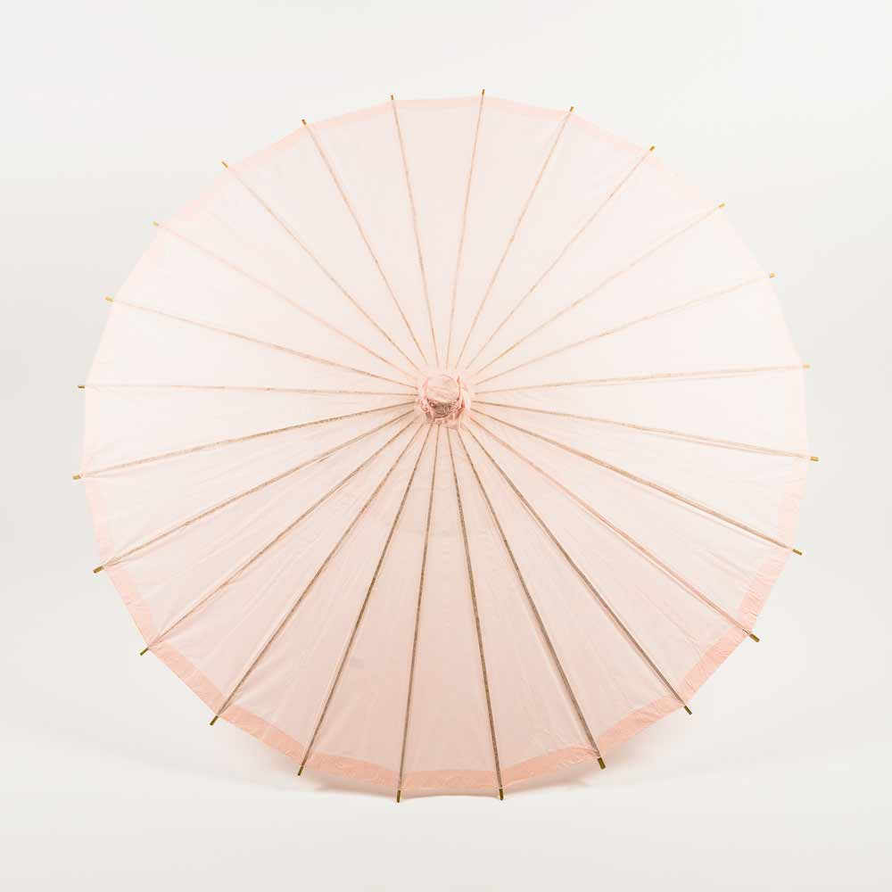 "32"" Rose Quartz Paper Parasol Umbrella for Weddings and Parties - Luna Bazaar 