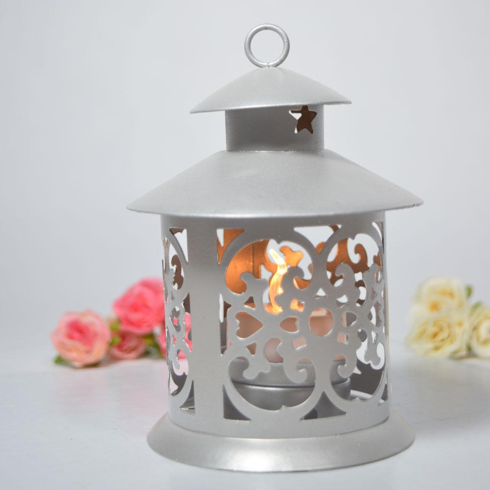 "CLOSEOUT 5"" Round Tealight Hurricane Candle Lantern - Silver - Luna Bazaar - Discover. Decorate. Celebrate"