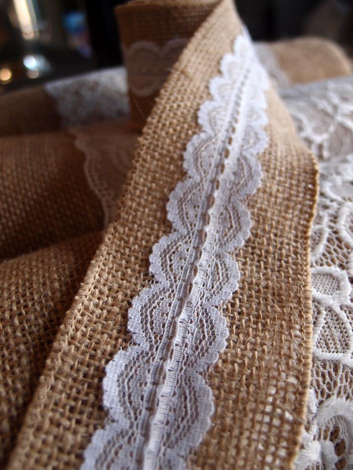 CLOSEOUT Burlap and Lace Style No.4 Fabric Wrap Roll (2.4 x 6 Ft) - Luna Bazaar | Boho & Vintage Style Decor