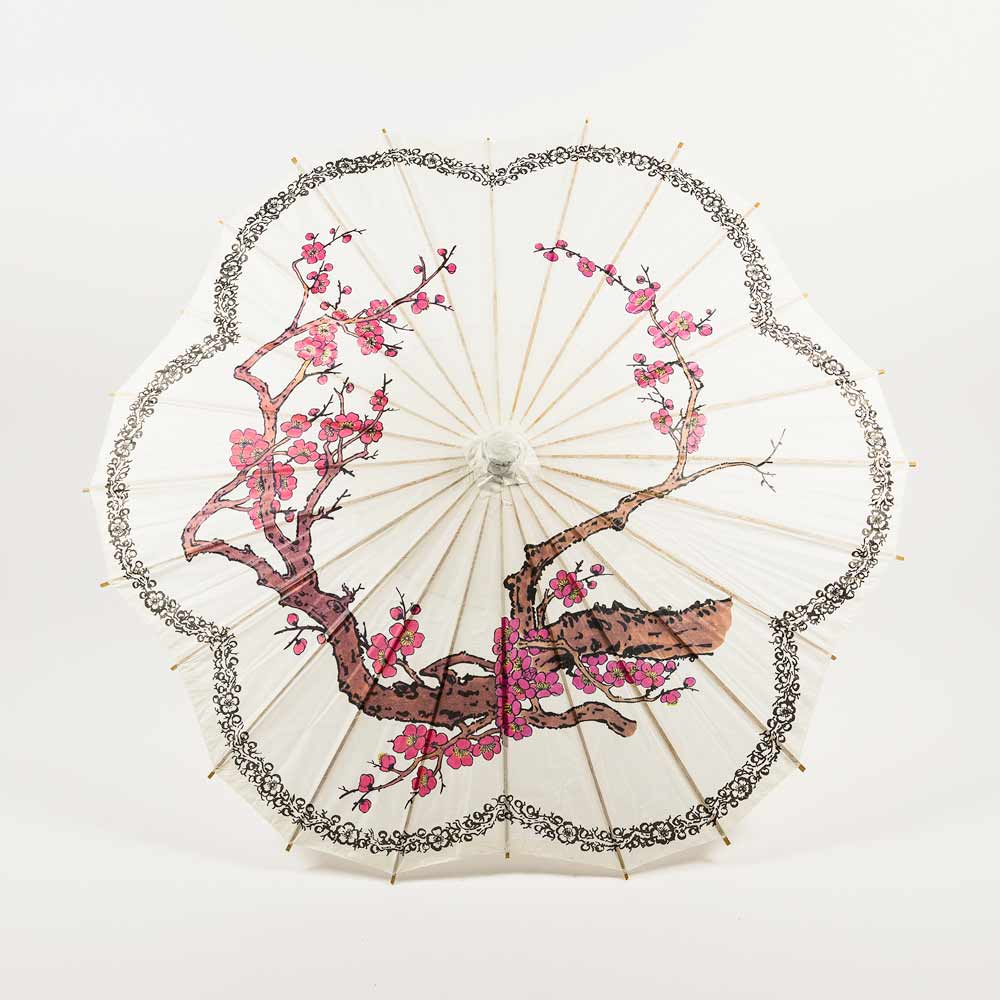 "32"" Cherry Blossom w/ Black Ring Paper Parasol Umbrella, Scallop Shaped (Sun Protection) - Luna Bazaar 