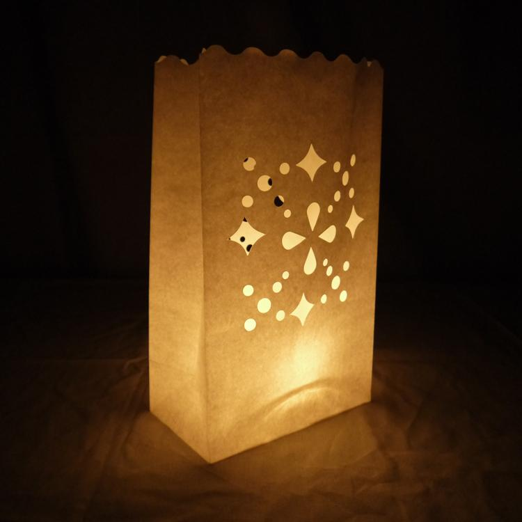 Multiple Shapes Snowflake Paper Luminaries / Luminary Lantern Bags Path Lighting (10 PACK) - Luna Bazaar - Discover. Decorate. Celebrate