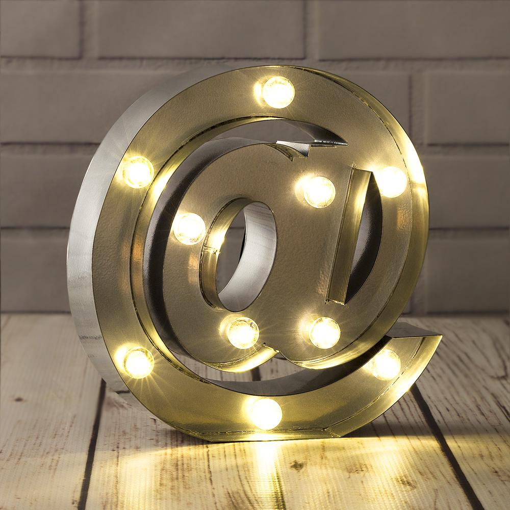 CLOSEOUT Silver Marquee Light Symbol '@ / At Web Internet' LED Metal Sign (8 Inch, Battery Operated w/ Timer) - Luna Bazaar | Boho & Vintage Style Decor