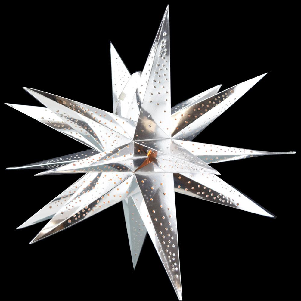 "24"" Moravian Glossy Silver Multi-Point Paper Star Lantern Lamp, Chinese Hanging Wedding & Party Decoration - Luna Bazaar 